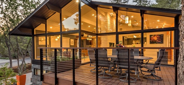 Midcentury Modern for a Contemporary Deck with a Wall of Windows and Mid-Century Modern Goes Modern by Ammirato Construction, Inc.