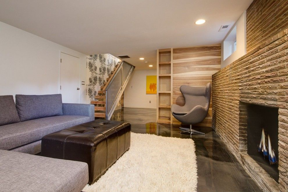 Midwest Basement Systems for a Contemporary Basement with a Basement Space and Basement Renovation by Sawhorse Design & Build