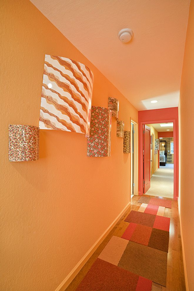 Milliken Doors for a Contemporary Hall with a Flor Tiles and Mountain View Hallway by Susan Diana Harris Interior Design