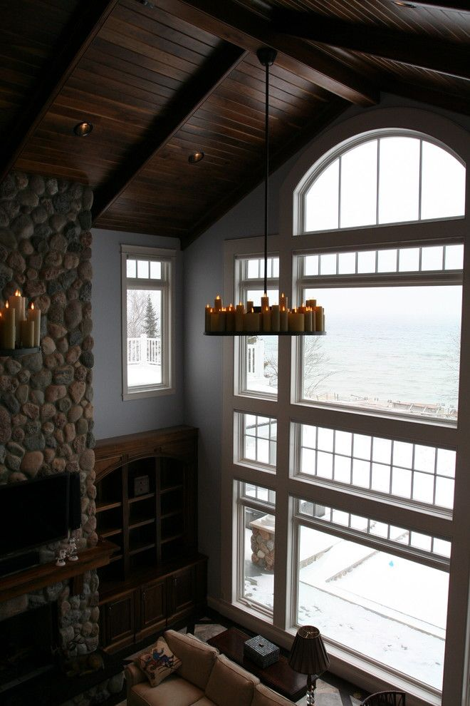Milliken Millwork for a Contemporary Living Room with a Curved Trim and Window Trim by Thomas & Milliken Millwork, Inc.