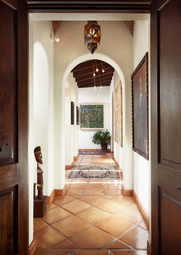Minwax Colors for a Mediterranean Hall with a Gallery Wall and Margo Hallway by Cgn Designs Llc