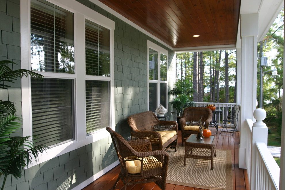 Minwax Colors for a Traditional Porch with a Area Rug and River Cottage #3 by Tab Premium Built Homes