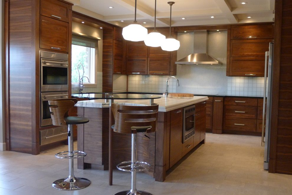 Minwax Dark Walnut for a Contemporary Kitchen with a Side by Side Refrigerator and Freezer and Walnut Horizontal Grain Kitchen by Susan Brook Interiors