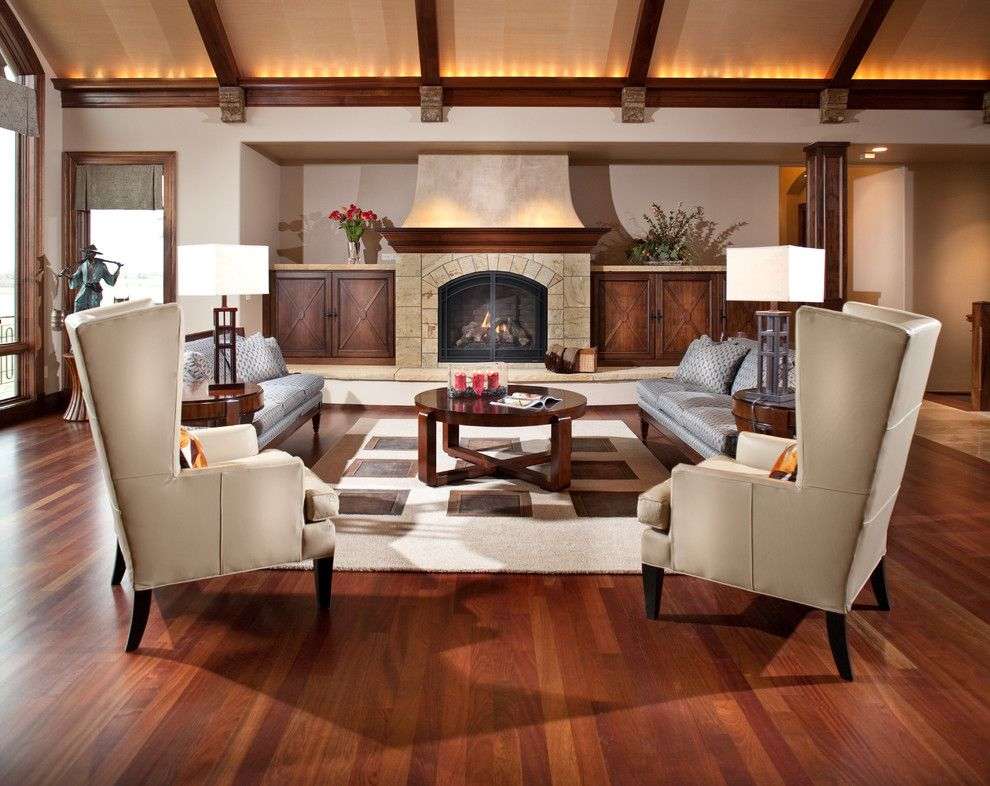 Minwax Dark Walnut for a Contemporary Living Room with a Symmetry and Living Room by Aneka Interiors Inc.