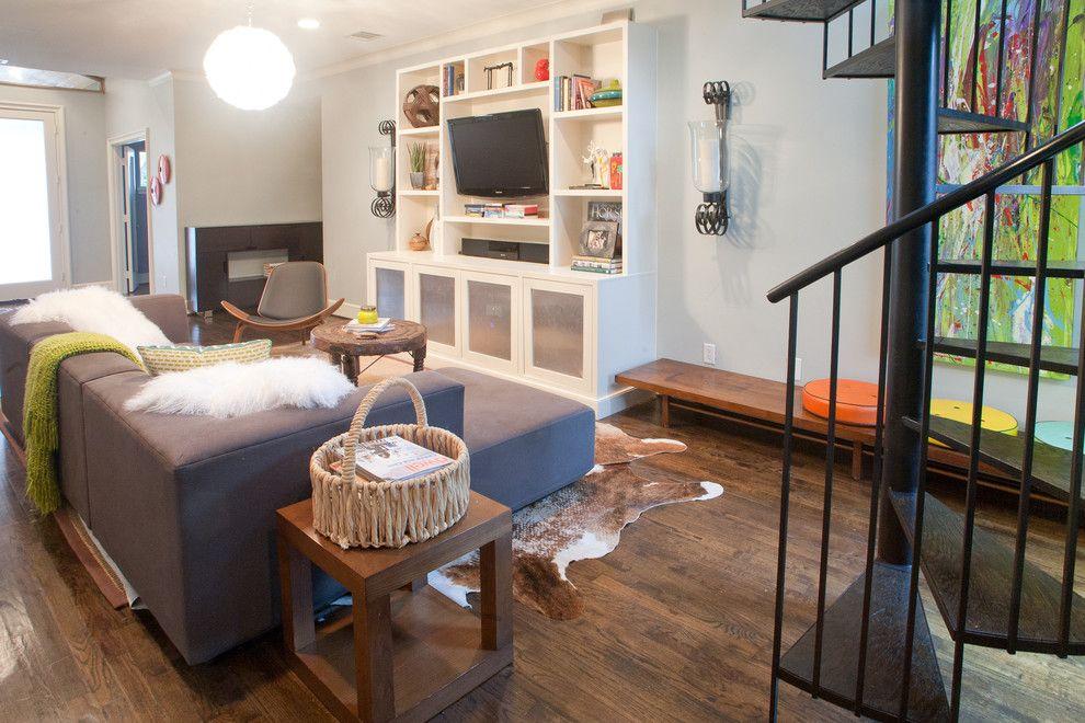 Minwax Dark Walnut for a Modern Living Room with a Sectional and Vanderbilt by Modern Craft Construction, Llc