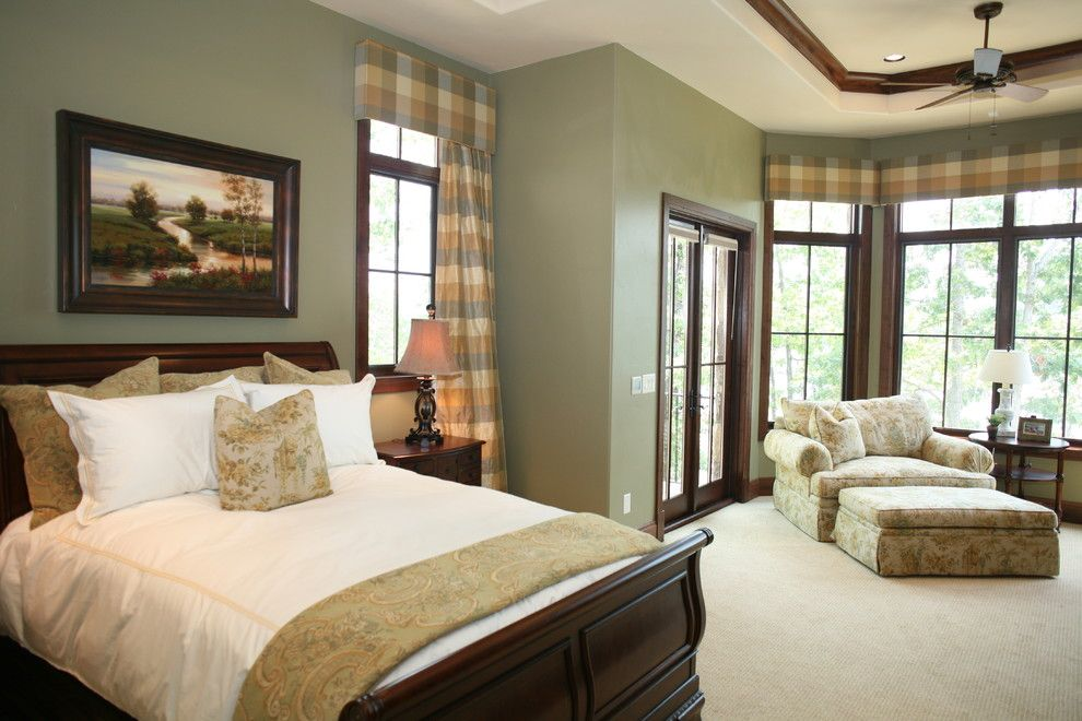 Minwax Dark Walnut for a Traditional Bedroom with a Green Wall and Master Bedroom by Fowler Interiors