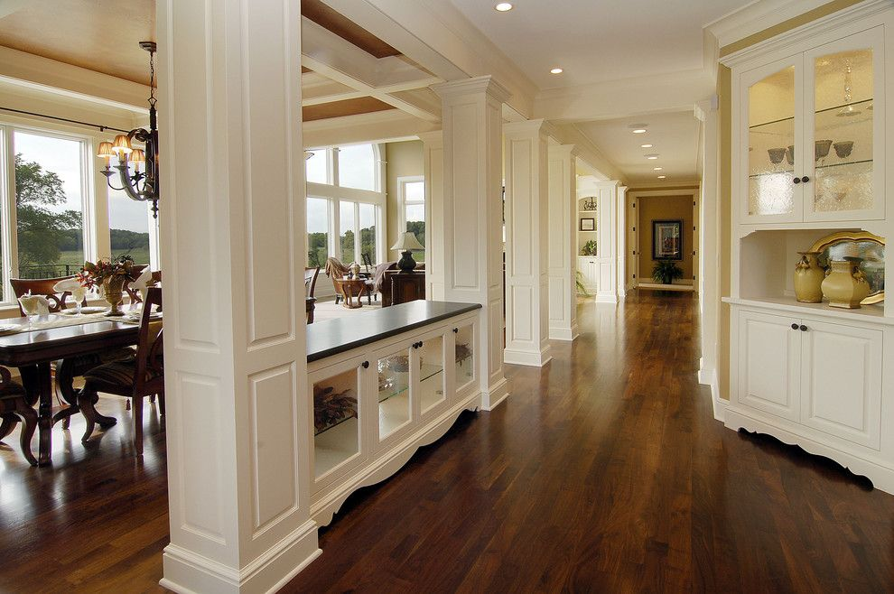 Minwax Dark Walnut for a Traditional Hall with a Footed Cabinets and Walnut Floors by John Kraemer & Sons