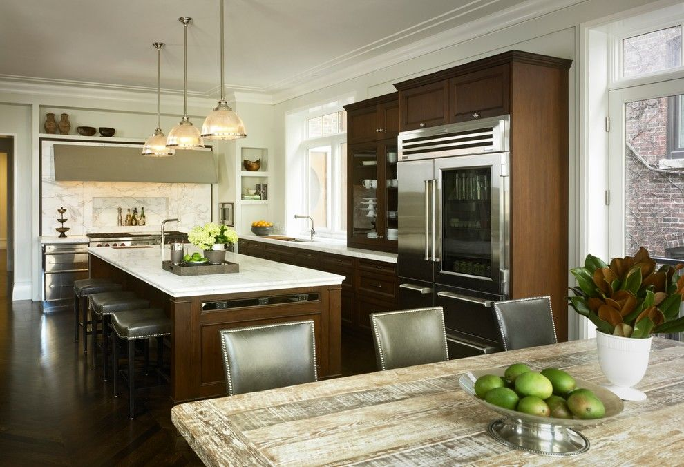 Minwax Dark Walnut for a Traditional Kitchen with a Stool and Kitchen by Michael Abrams Limited