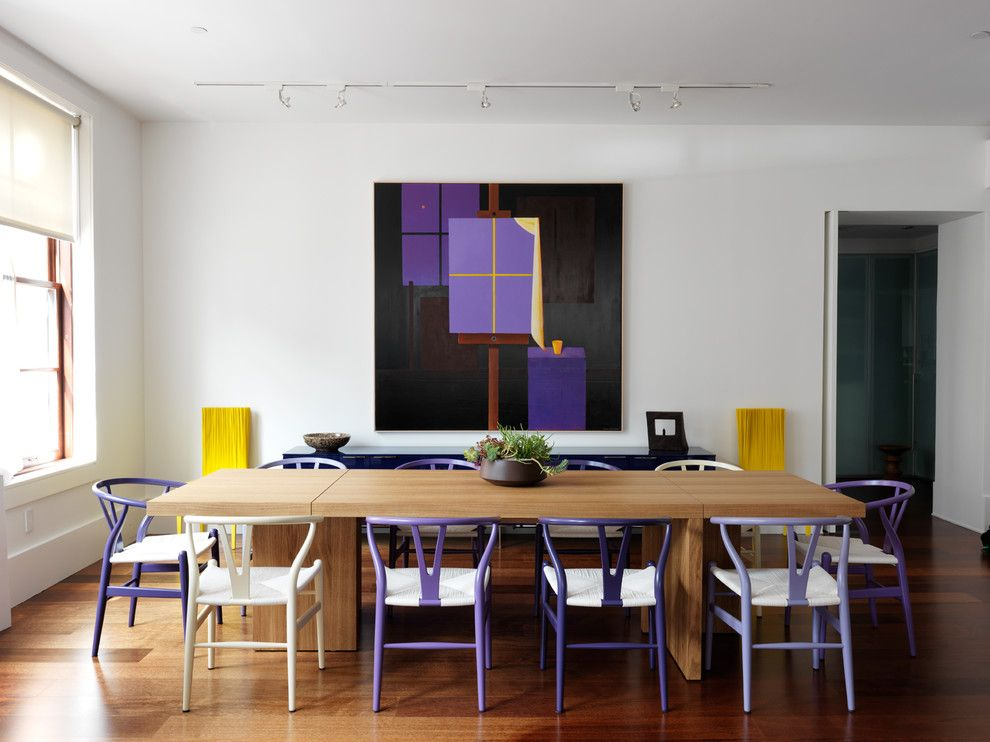 Minwax for a Contemporary Dining Room with a Purple Wishbone Chairs and Tribeca Loft by Nexus Designs
