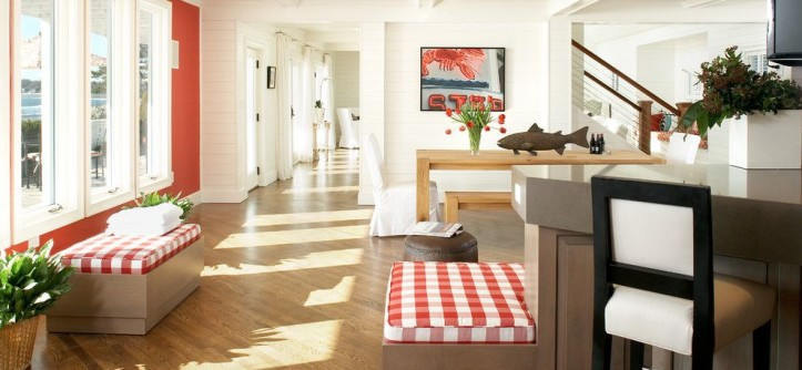 Minwax Stain Colors for a Beach Style Hall with a Wood Floor and Marblehead Residence by Terrat Elms Interior Design