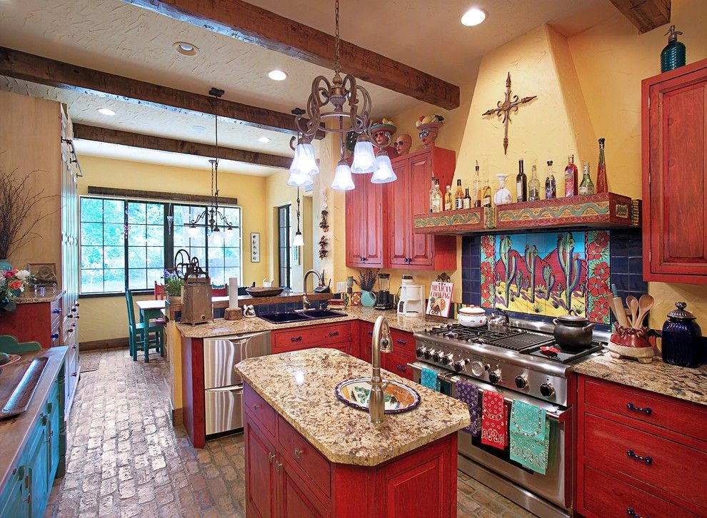 Minwax Stain Colors for a Southwestern Kitchen with a Mosaic and Kitchen by Gritton & Associates Architects