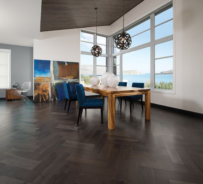 Mirage Hardwood for a Modern Spaces with a Modern and Herringbone Collection   Knotty Walnut Charcoal 5'' by Mirage Hardwood Floors