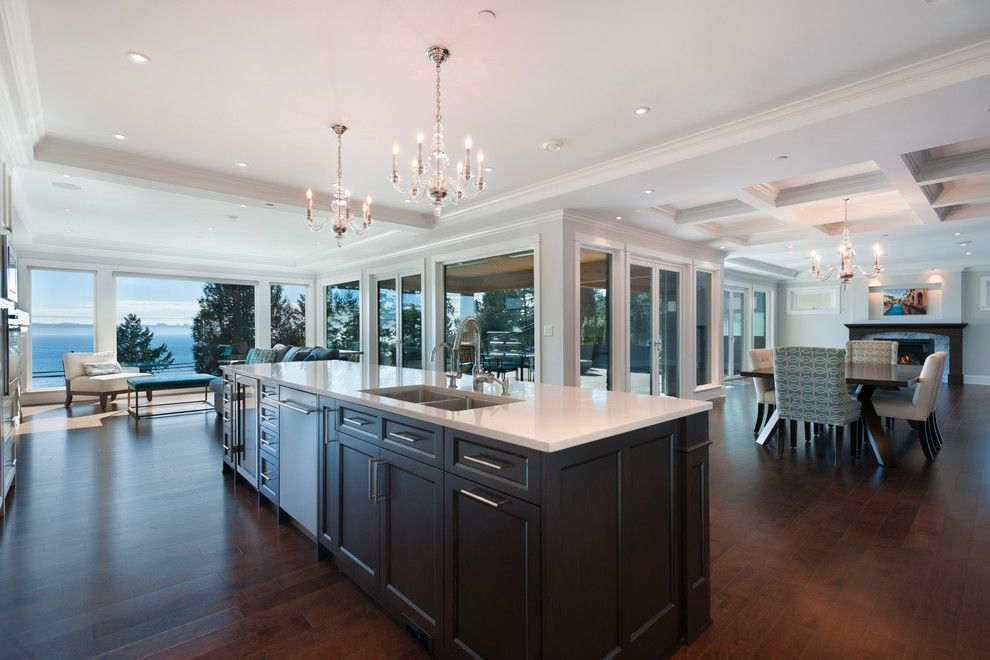 Mirage Hardwood for a Transitional Kitchen with a West Coast Contemporary and West Vancouver Horizon by Sarah Gallop Design Inc.