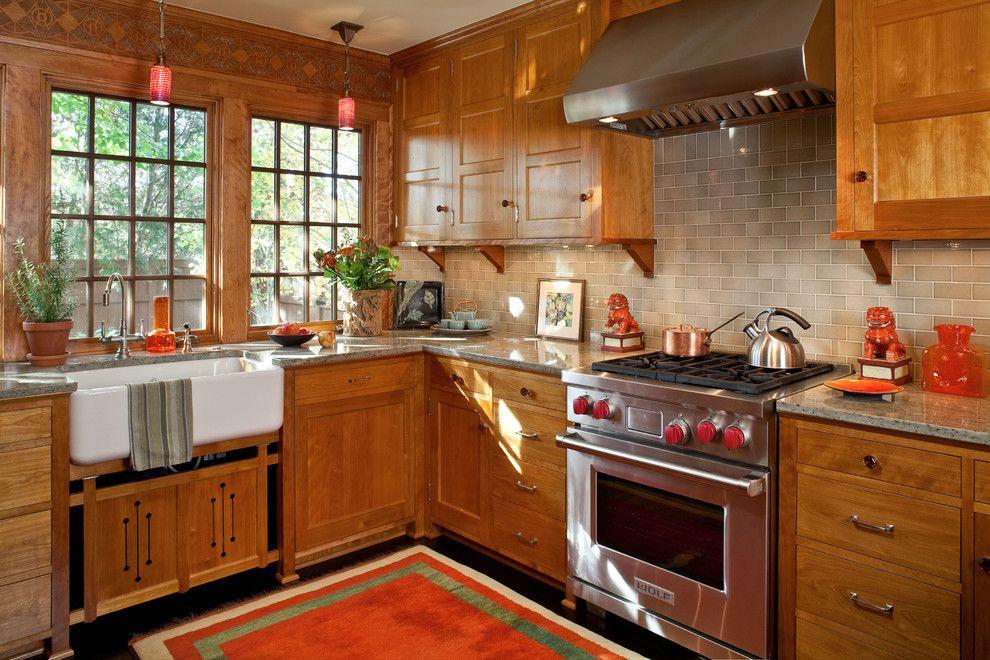 Mission Tile West for a Craftsman Kitchen with a Subway Tile Backsplash and Saint Paul Craftsman by David Heide Design Studio