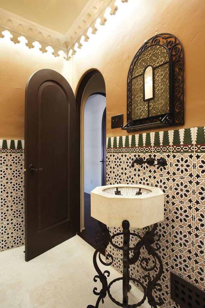 Mission Tile West for a Mediterranean Bathroom with a Wall Mounted Faucet and 1334 Wilbury San Marino Residence by Mission Tile West