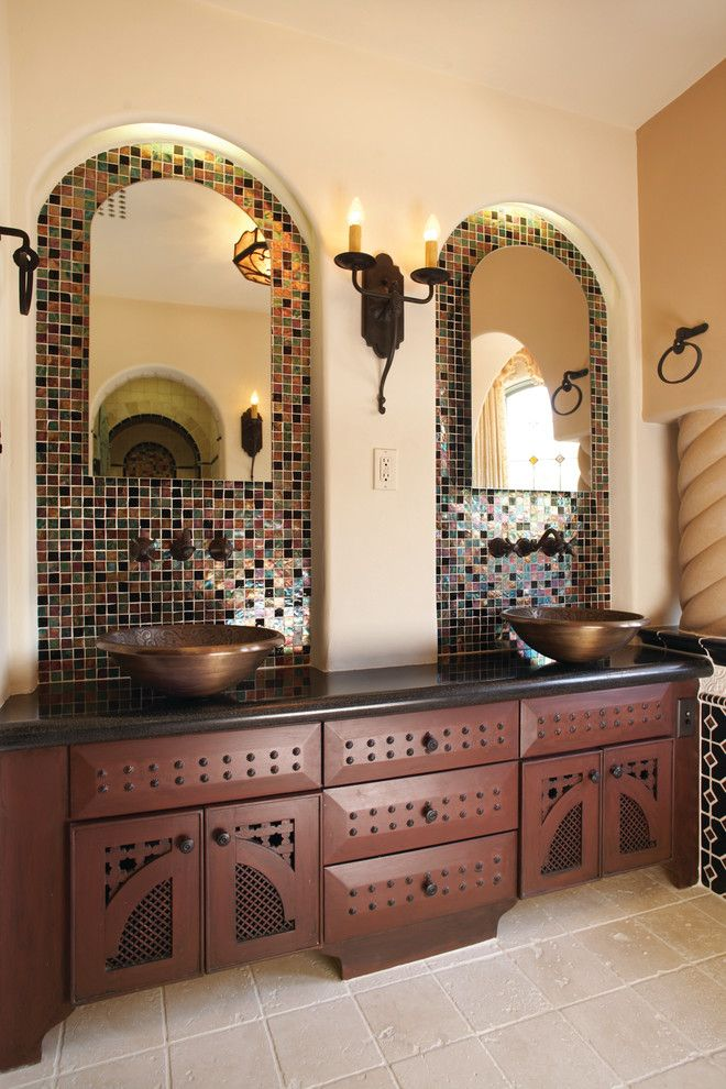 Mission Tile West for a Mediterranean Bathroom with a Wall Sconce and 1334 Wilbury San Marino Residence by Mission Tile West