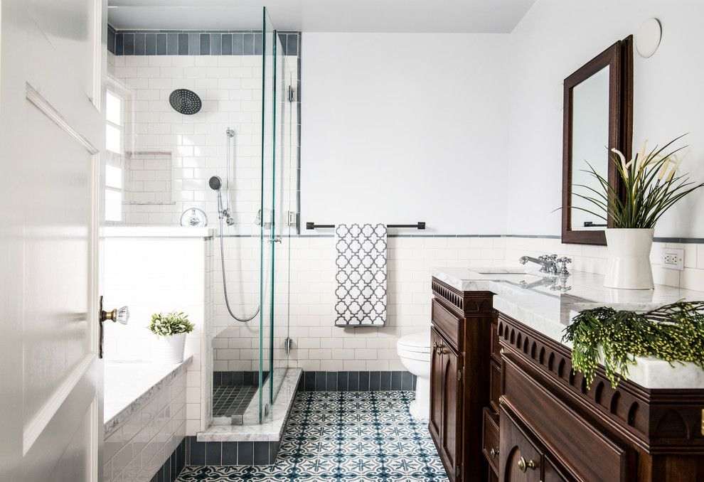 Mission Tile West for a Traditional Bathroom with a White Countertop and Illona Residence by Mission Tile West