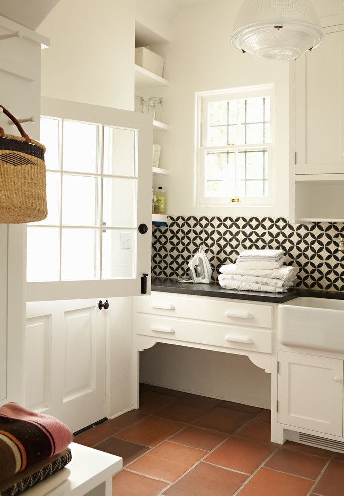 Mission Tile West for a Traditional Laundry Room with a Dutch Door and Helena 1 by Tim Barber Ltd Architecture