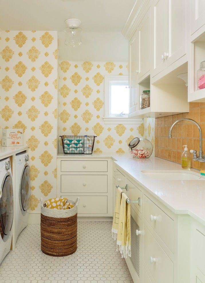 Mission Tile West for a Transitional Laundry Room with a Yellow and Hamptons Style House by Alison Kandler Interior Design