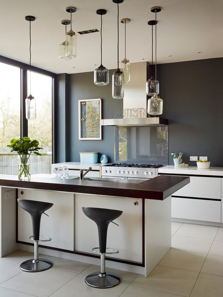 M&m Lighting for a Contemporary Kitchen with a Matt Lacquer White Kitchen and Roundhouse Contemporary Kitchens by Roundhouse