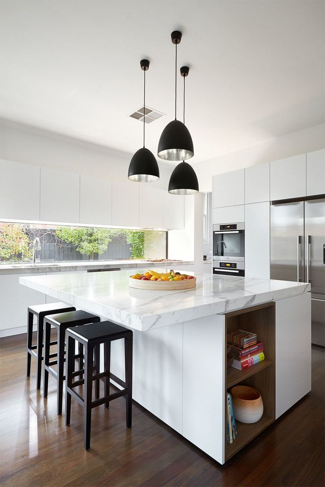M&m Lighting for a Contemporary Kitchen with a Modern Pendant Light and East Malvern by Lsa Architects