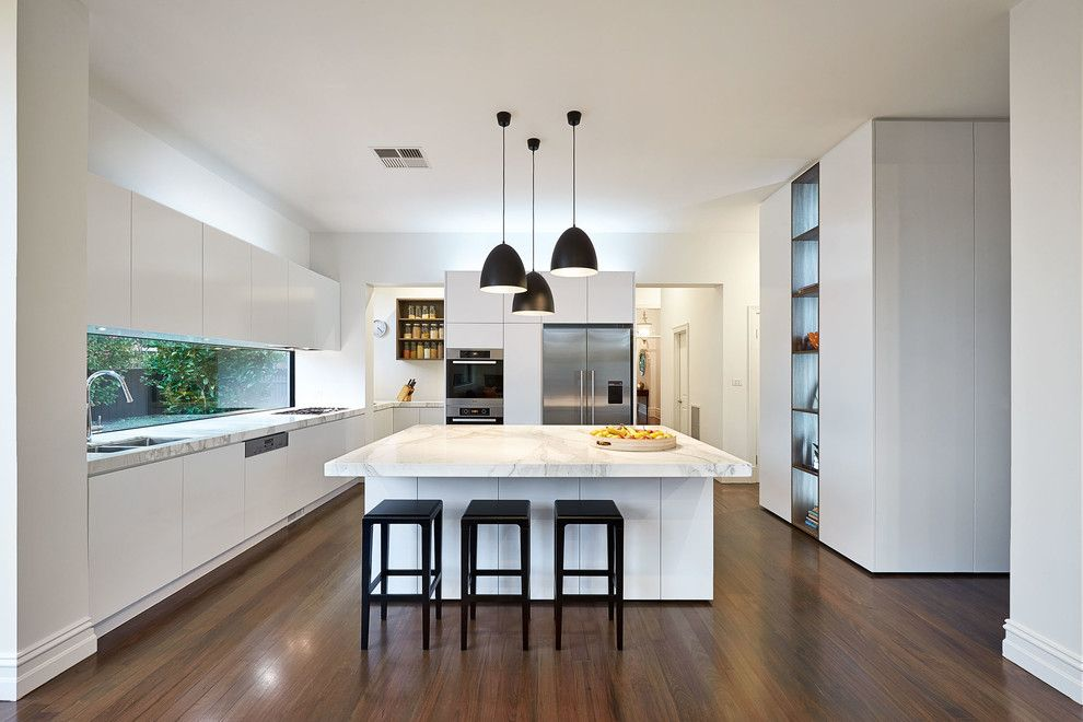 M&m Lighting for a Contemporary Kitchen with a Spice Rack and East Malvern by Lsa Architects