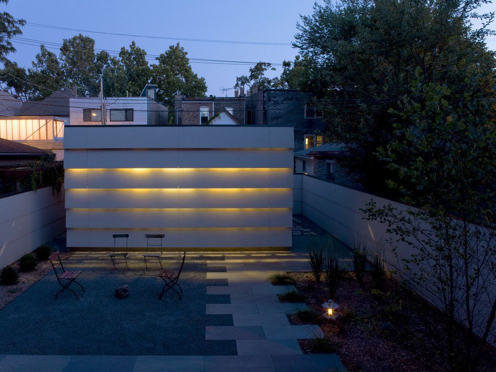 M&m Lighting for a Contemporary Patio with a Cove Lighting and Urban Garage, Day and Night by Wheeler Kearns Architects