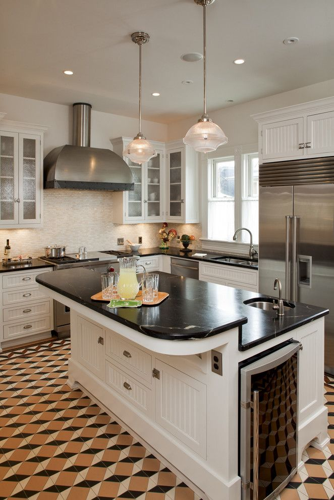 M&m Lighting for a Traditional Kitchen with a Floor Tile and Austin Texas Residence by Voh Architects