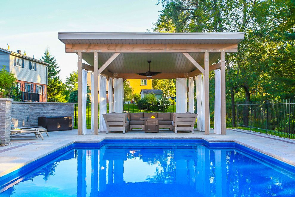 Modern Cabana for a Modern Patio with a Backyard Landscape and Pool Cabana by Total Living Concepts