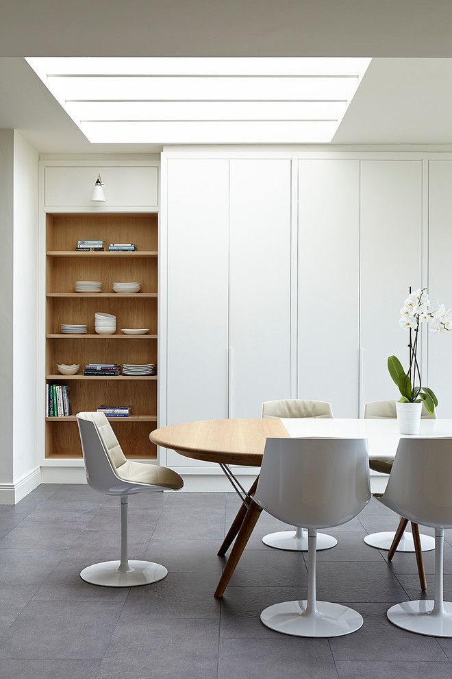 Modern Mobler for a Transitional Dining Room with a Skylights and Ranelagh, Dublin. by Eoin Lyons Interiors