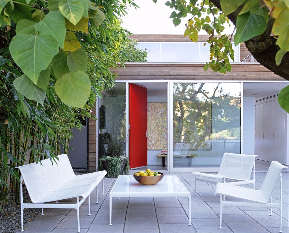 Modernlinefurniture for a Modern Patio with a Container Plants and Newport Beach Residence by Paul Davis Architects