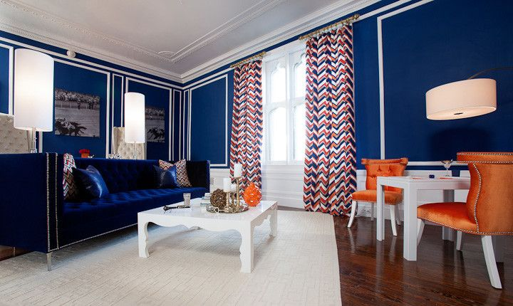Modshop for a Modern Living Room with a Blue and Orange and New York Designer Showcase by Modshop   La, Oc, Ny, Palm Springs & Miami