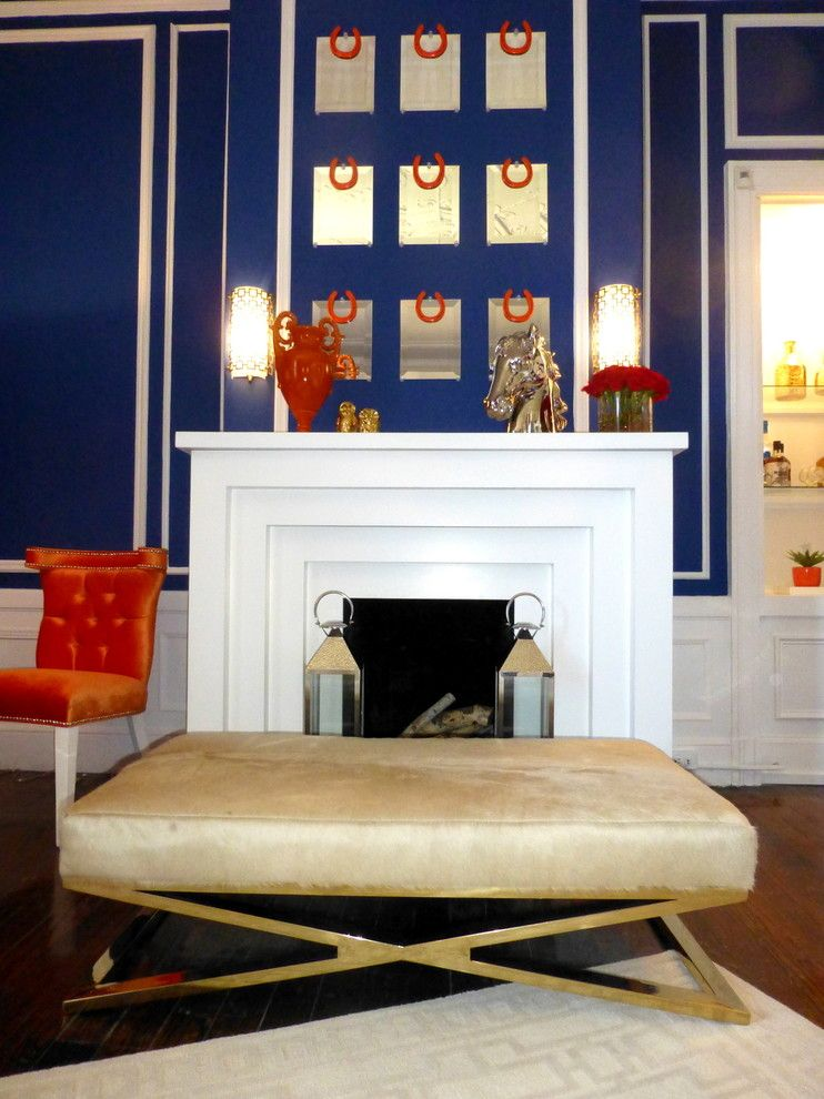 Modshop for a Modern Living Room with a Blue White Orange and New York Designer Showcase by Modshop   La, Oc, Ny, Palm Springs & Miami