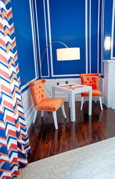 Modshop for a Modern Living Room with a Chevron Curtains and New York Designer Showcase by Modshop   La, Oc, Ny, Palm Springs & Miami