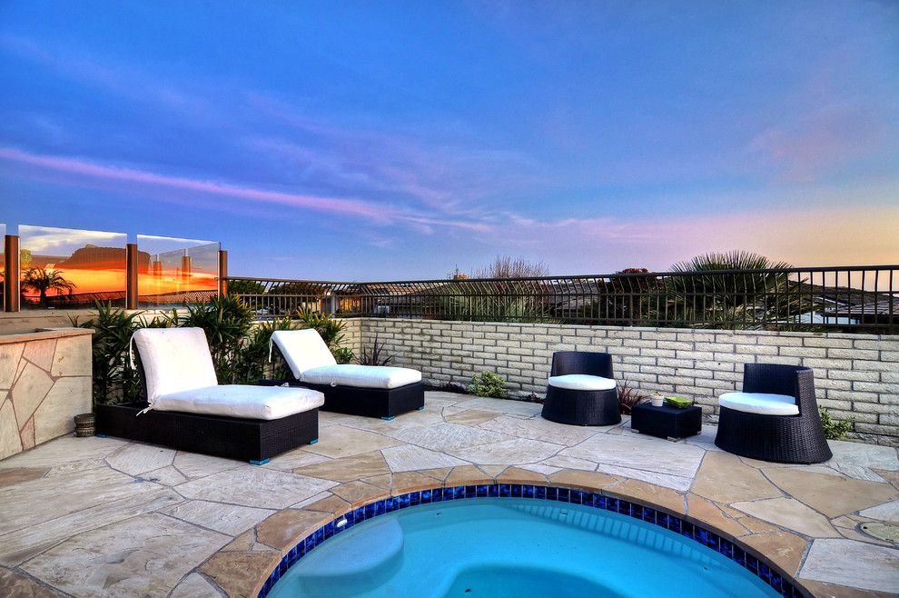 Monarch Pools for a Beach Style Pool with a Ocean View and Monarch Bay (B),  Dana Point Ca by R.d. Pinault Company