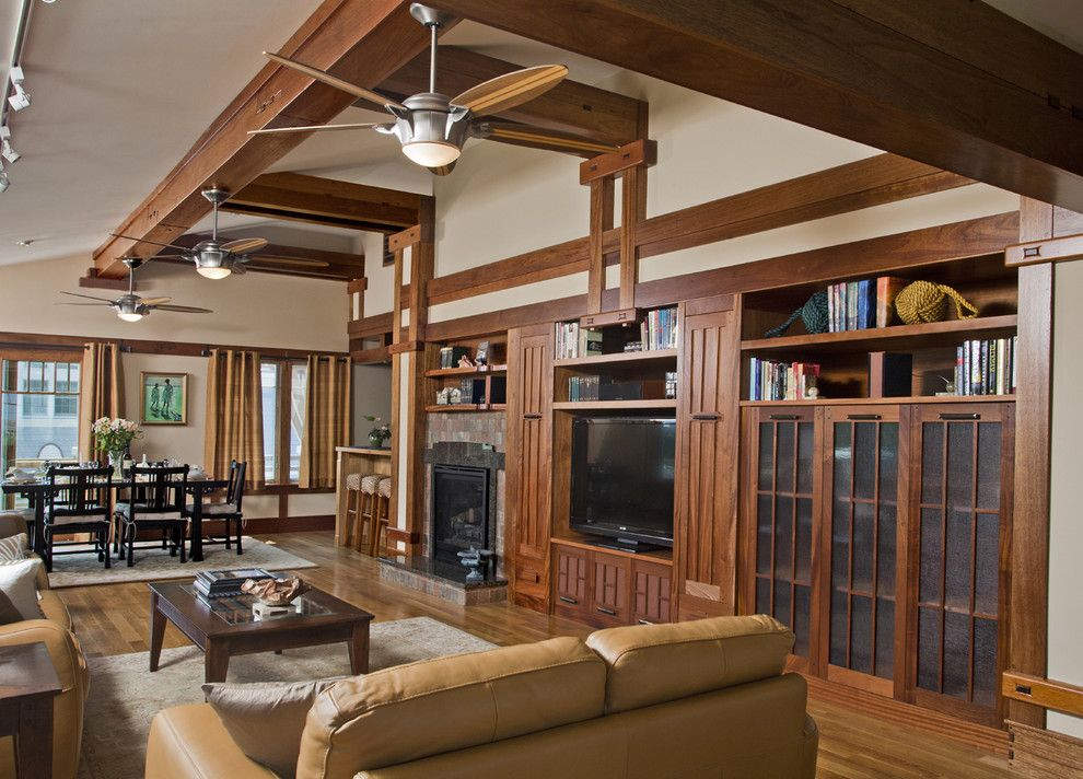 Monroe Bisque for a Craftsman Family Room with a Wood Floor and Lbi Residence by Raphael Architects