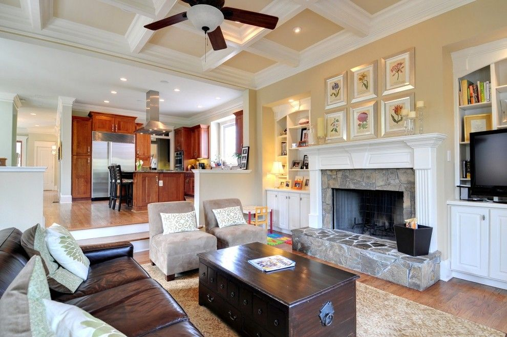 Monroe Bisque for a Traditional Living Room with a Hearth and Arlington Family Room by Phoenix Renovations