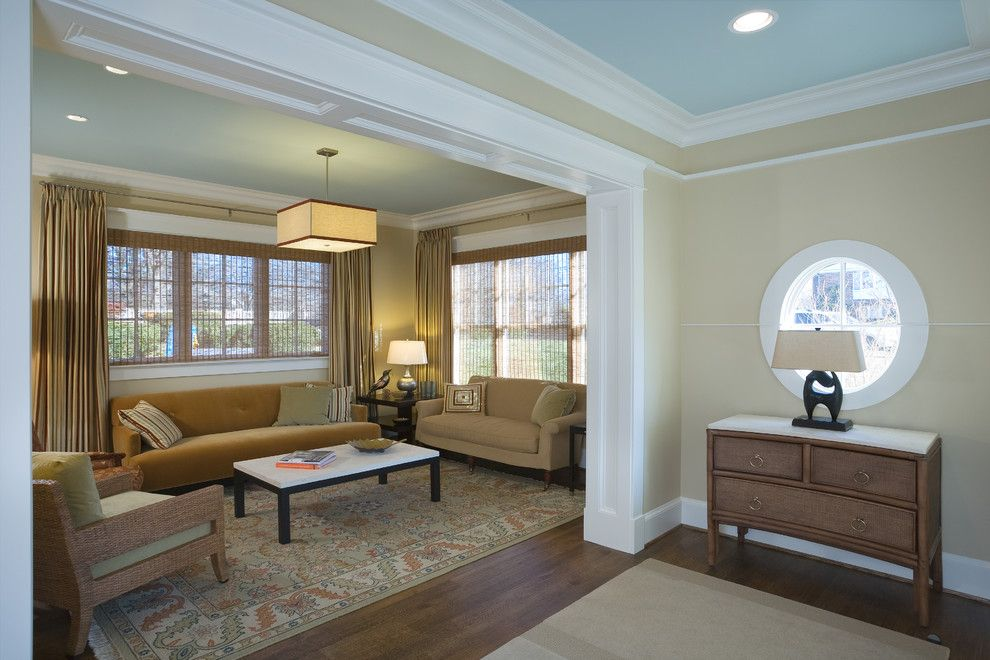 Monroe Bisque for a Transitional Living Room with a Built in Cabinetry and Transitional Retreat by Sroka Design, Inc.