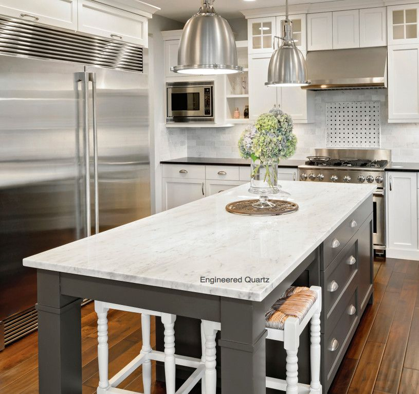 Mont Granite for a Contemporary Kitchen with a Contemporary and Engineered Quartz by Mont Surfaces by Mont Granite