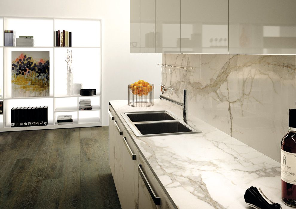 Mont Granite for a Contemporary Kitchen with a Procelain and New Product for Beautiful Kitchens by Mont Surfaces by Mont Granite