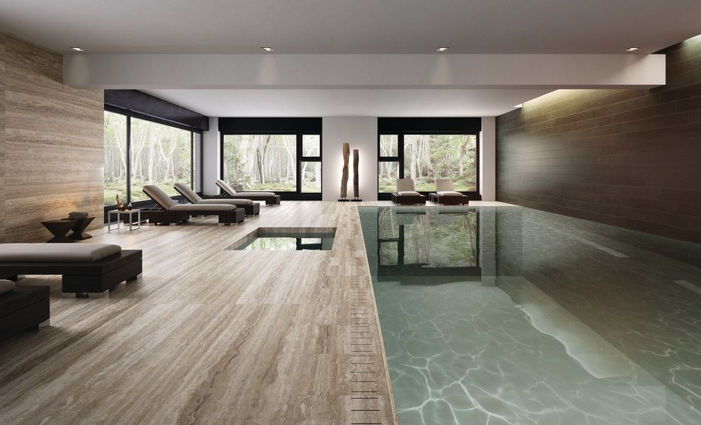 Mont Granite for a Contemporary Pool with a Porcelain Slabs and Master Bath   Porcelain by Mont Surfaces by Mont Granite