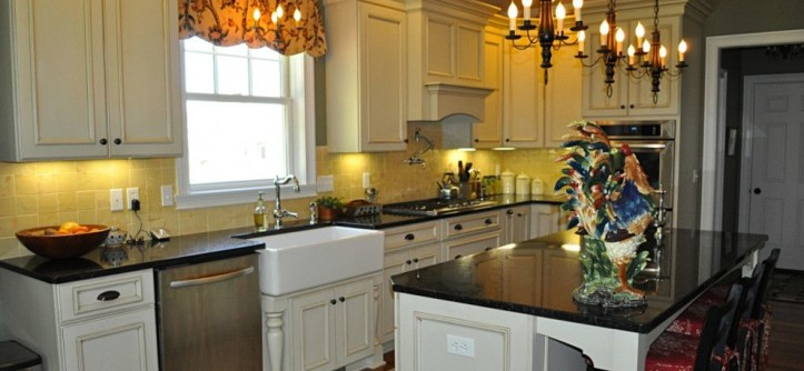 Mont Granite for a Farmhouse Kitchen with a Multi Light Pendant and Pittsford, NY Formal Farmhouse Kitchen by Innovations by VP
