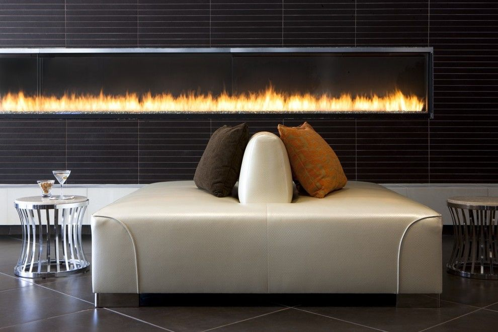Montigo for a Contemporary Living Room with a Lounge Seating and 16' Custom Gas Fireplace by Montigo Fireplaces