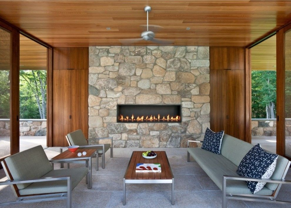Montigo for a Contemporary Patio with a Stone and 6' Custom Gas Fireplace by Montigo Fireplaces