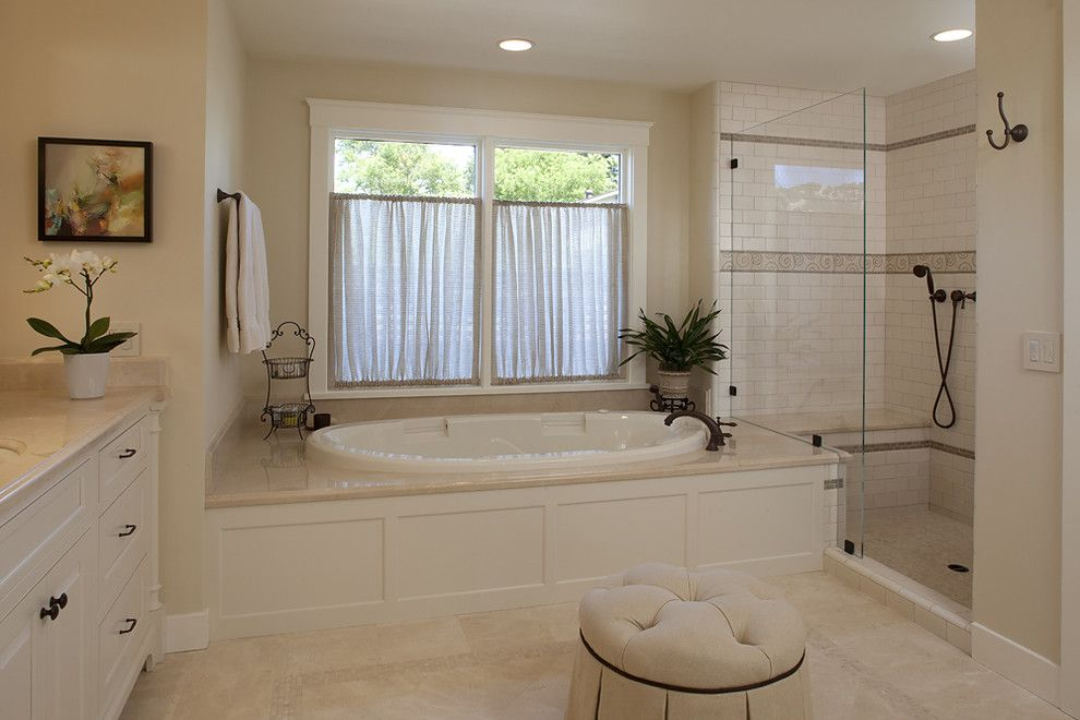 Moore Plumbing Supply for a Traditional Bathroom with a White Bathroom and House in Sonoma by Julie Williams Design
