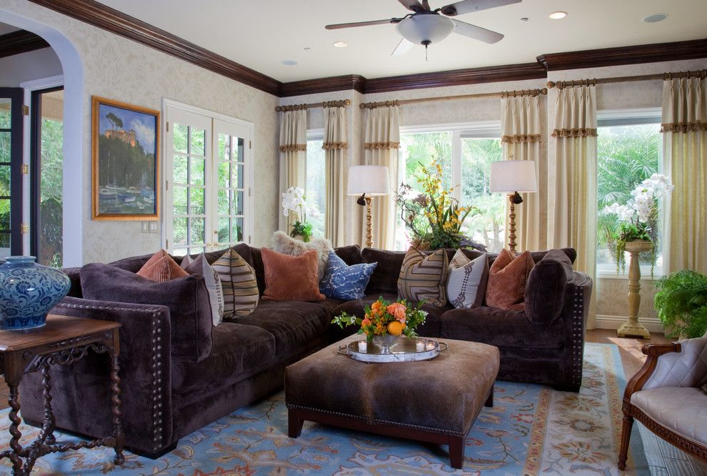 Mor Furniture for a Mediterranean Family Room with a New Tuscan and Shire ~ Coto De Caza ~ Vicki Gunvalson Rhoc by Leanne Michael L U X E Lifestyle Design