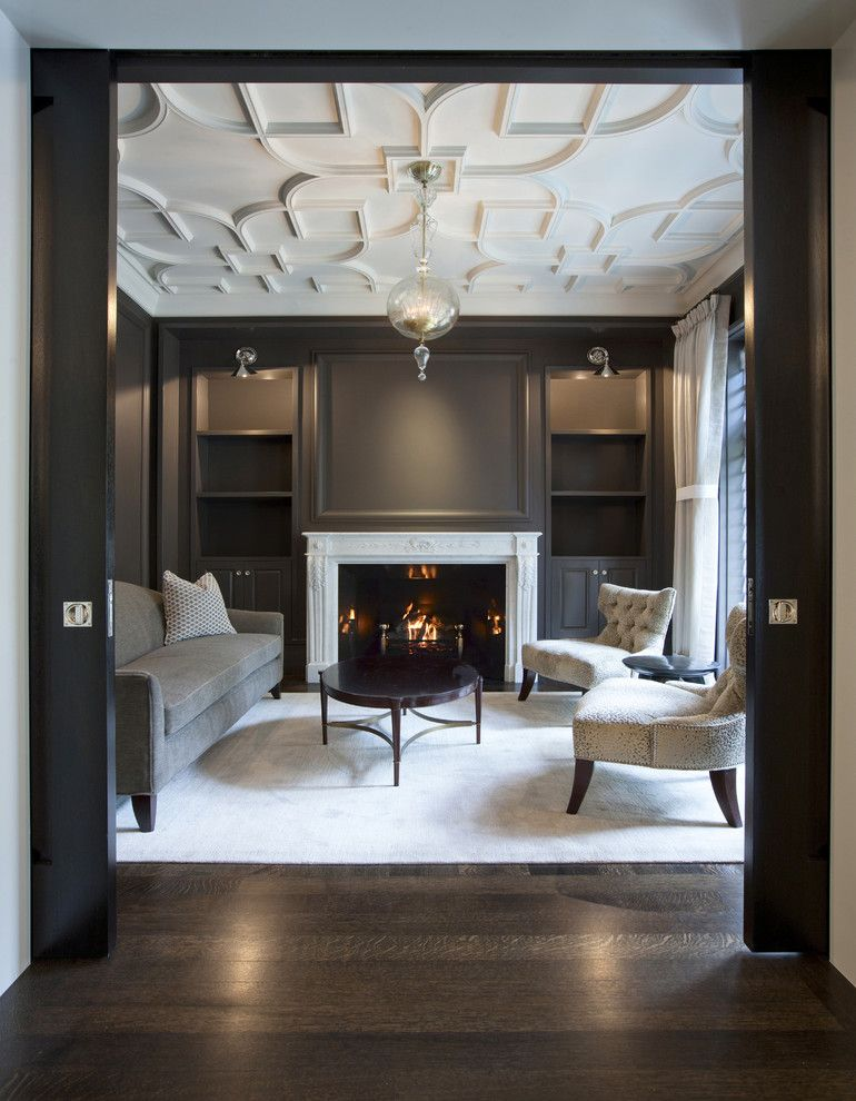 Mor Furniture for Less for a Traditional Living Room with a Built in Bookshelves and Salon with Custom Plaster Ceiling by Dspace Studio Ltd, Aia