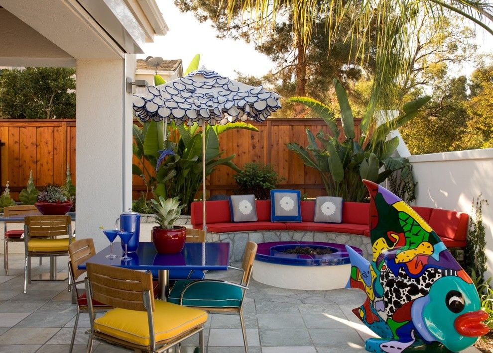 Mor Furniture San Diego for a Contemporary Patio with a Playful Umbrella and San Diego Contemporary by Luxury Ranch Interior Design