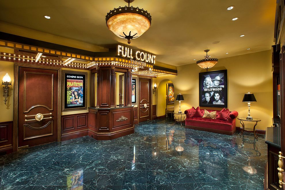 Moreno Valley Theater for a Mediterranean Home Theater with a Theatre and Theater Lobby by Desert Star Construction