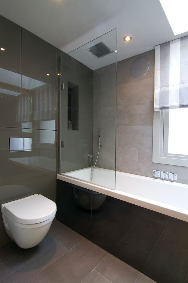Mosa Tile for a Contemporary Bathroom with a Led Backlighting and Fulham Bathroom by Melanie Williams Bespoke Interiors
